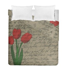 Vintage Tulips Duvet Cover Double Side (full/ Double Size) by Valentinaart