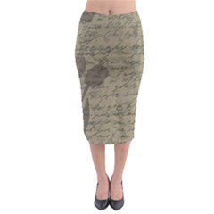 Vintage Tulips Midi Pencil Skirt by Valentinaart