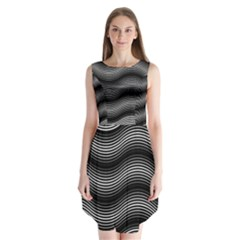 Two Layers Consisting Of Curves With Identical Inclination Patterns Sleeveless Chiffon Dress