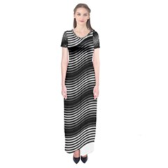Two Layers Consisting Of Curves With Identical Inclination Patterns Short Sleeve Maxi Dress