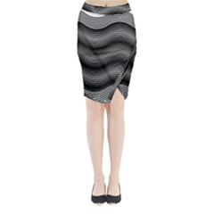 Two Layers Consisting Of Curves With Identical Inclination Patterns Midi Wrap Pencil Skirt