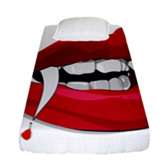 Mouth Jaw Teeth Vampire Blood Fitted Sheet (single Size) by Simbadda
