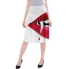 Mouth Jaw Teeth Vampire Blood Midi Beach Skirt by Simbadda