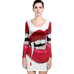 Mouth Jaw Teeth Vampire Blood Long Sleeve Velvet Bodycon Dress by Simbadda