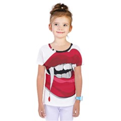 Mouth Jaw Teeth Vampire Blood Kids  One Piece Tee by Simbadda