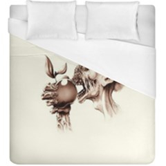 Zombie Apple Bite Minimalism Duvet Cover (king Size) by Simbadda