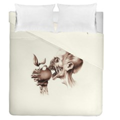 Zombie Apple Bite Minimalism Duvet Cover Double Side (queen Size) by Simbadda