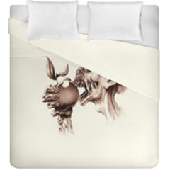 Zombie Apple Bite Minimalism Duvet Cover Double Side (king Size) by Simbadda