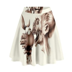Zombie Apple Bite Minimalism High Waist Skirt by Simbadda