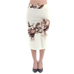 Zombie Apple Bite Minimalism Midi Pencil Skirt by Simbadda