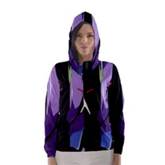 Monster Face Drawing Paint Hooded Wind Breaker (women) by Simbadda