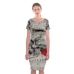 Skull And Rose  Classic Short Sleeve Midi Dress by Valentinaart