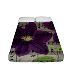 Vintage Purple Flowers Fitted Sheet (full/ Double Size) by Valentinaart