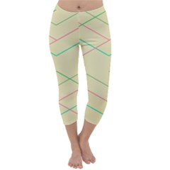 Abstract Yellow Geometric Line Pattern Capri Winter Leggings