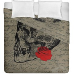 Skull And Rose  Duvet Cover Double Side (king Size) by Valentinaart
