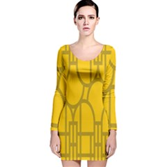 The Michigan Pattern Yellow Long Sleeve Velvet Bodycon Dress