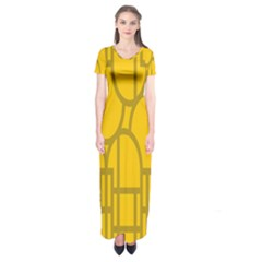 The Michigan Pattern Yellow Short Sleeve Maxi Dress