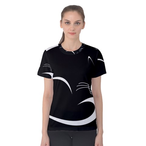 Cat Black Vector Minimalism Women s Cotton Tee by Simbadda