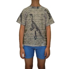 Dinosaur Skeleton Kids  Short Sleeve Swimwear by Valentinaart