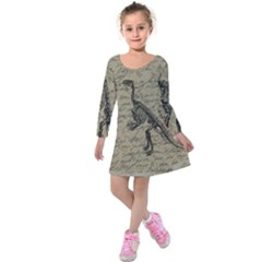 Dinosaur Skeleton Kids  Long Sleeve Velvet Dress by Valentinaart