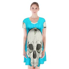 Skull Ball Line Schedule Short Sleeve V Neck Flare Dress by Simbadda