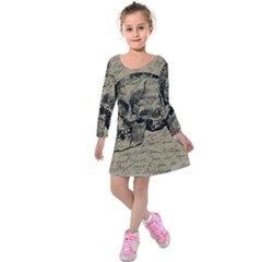 Skull Kids  Long Sleeve Velvet Dress by Valentinaart