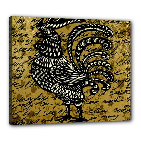 Vintage Rooster  Canvas 24  X 20  by Valentinaart