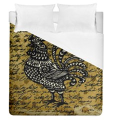 Vintage Rooster  Duvet Cover (queen Size) by Valentinaart
