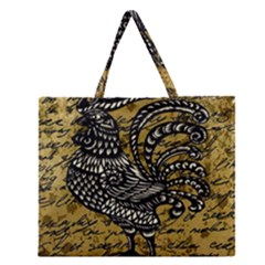 Vintage Rooster  Zipper Large Tote Bag by Valentinaart
