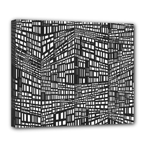 Recursive Subdivision Between 5 Source Lines Screen Black Deluxe Canvas 24  X 20   by Simbadda