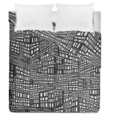 Recursive Subdivision Between 5 Source Lines Screen Black Duvet Cover Double Side (queen Size)