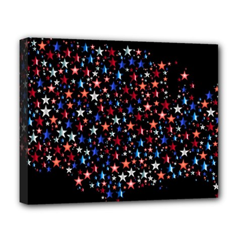 America Usa Map Stars Vector  Deluxe Canvas 20  X 16   by Simbadda