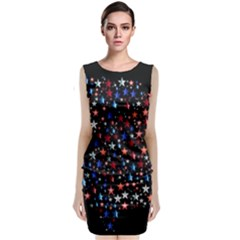 America Usa Map Stars Vector  Classic Sleeveless Midi Dress by Simbadda