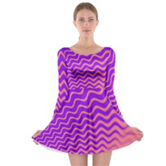 Pink And Purple Long Sleeve Skater Dress by Simbadda