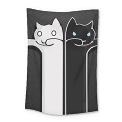 Texture Cats Black White Small Tapestry