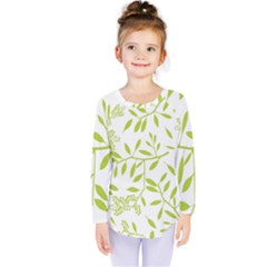 Leaves Pattern Seamless Kids  Long Sleeve Tee by Simbadda