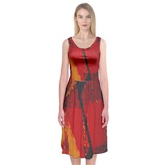 Surface Line Pattern Red Midi Sleeveless Dress