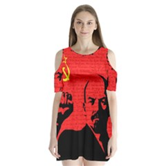 Lenin  Shoulder Cutout Velvet  One Piece by Valentinaart
