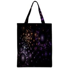 Fractal Patterns Dark Circles Zipper Classic Tote Bag by Simbadda