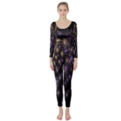Fractal Patterns Dark Circles Long Sleeve Catsuit