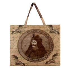 Count Vlad Dracula Zipper Large Tote Bag by Valentinaart