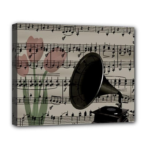 Vintage Music Design Deluxe Canvas 20  X 16   by Valentinaart