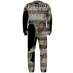 Vintage Music Design Onepiece Jumpsuit (men)  by Valentinaart