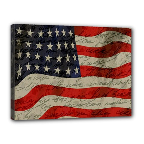 Vintage American Flag Canvas 16  X 12  by Valentinaart