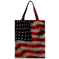 Vintage American Flag Zipper Classic Tote Bag by Valentinaart