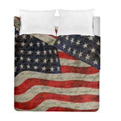 Vintage American Flag Duvet Cover Double Side (full/ Double Size)