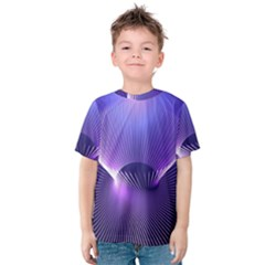 Abstract Fractal 3d Purple Artistic Pattern Line Kids  Cotton Tee by Simbadda