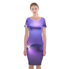 Abstract Fractal 3d Purple Artistic Pattern Line Classic Short Sleeve Midi Dress