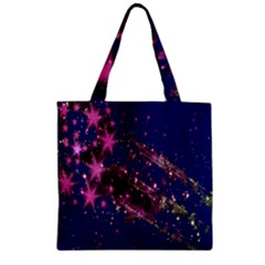 Stars Abstract Shine Spots Lines Zipper Grocery Tote Bag