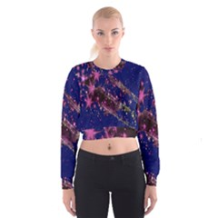 Stars Abstract Shine Spots Lines Women s Cropped Sweatshirt by Simbadda